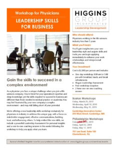 Physician Leadership Skills Workshop Flyer_Mar 2019 - The Higgins